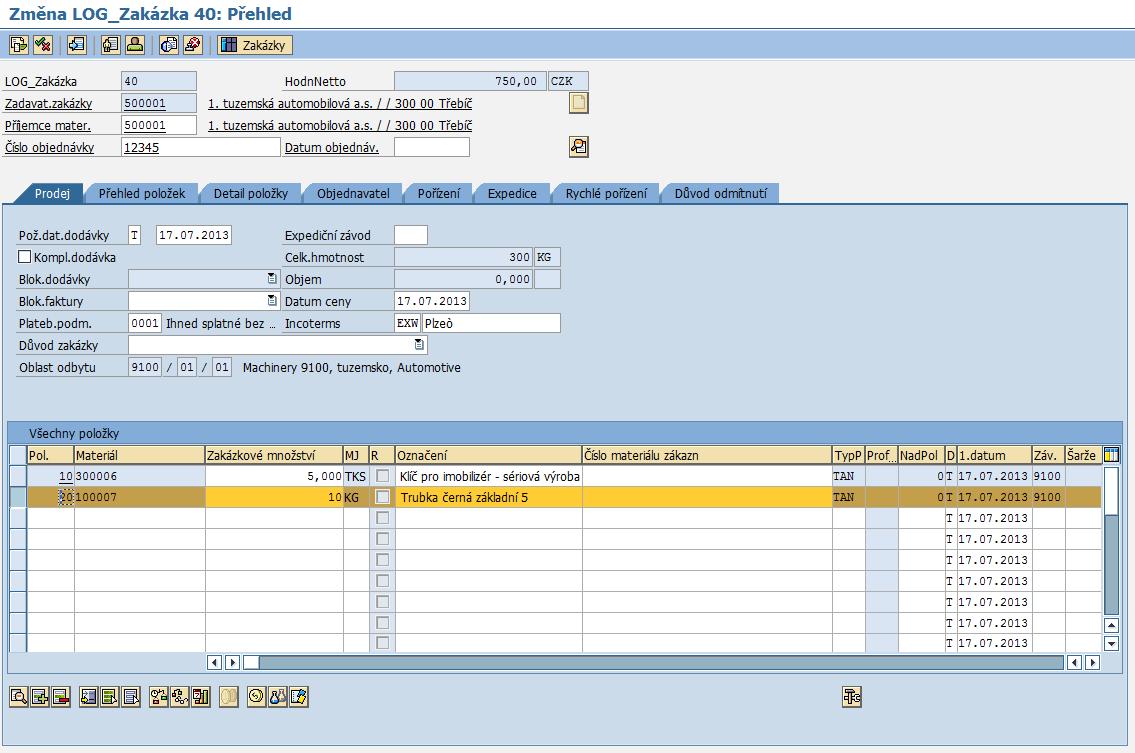 SAP SD Servisní zakázka